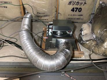 浴室暖房取り付け後 排気ダクト接続 開口部周り補強